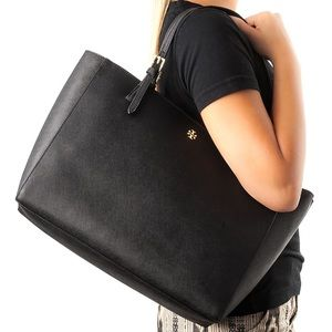 Tory Burch Buckle Black Leather Tote